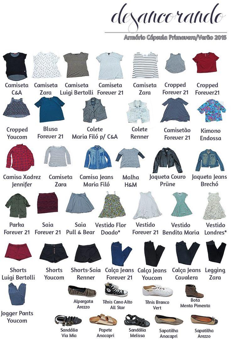 Finalmente consegui montar a planilha com todas as roupas que estão no meu armário cápsula para a temporada de primavera/verão 2015-16