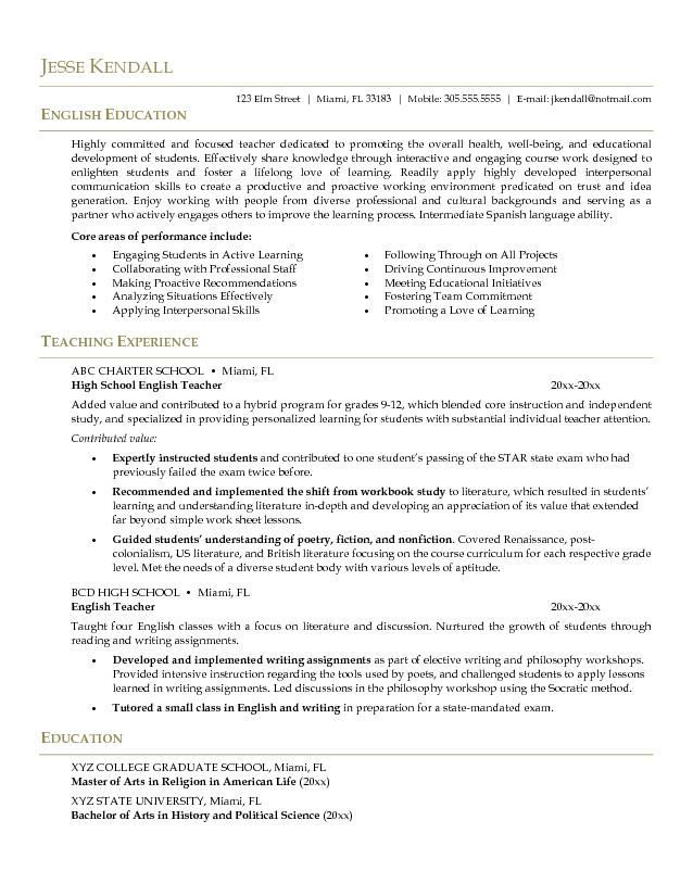10 best Middle School English Teacher Resume Builder images on - play specialist sample resume