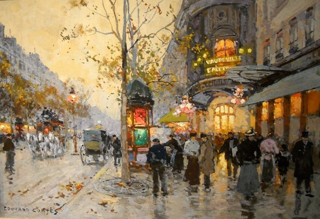 The Theater-Vaudeville by Edouard Leon Cortes (French 1886-1969)