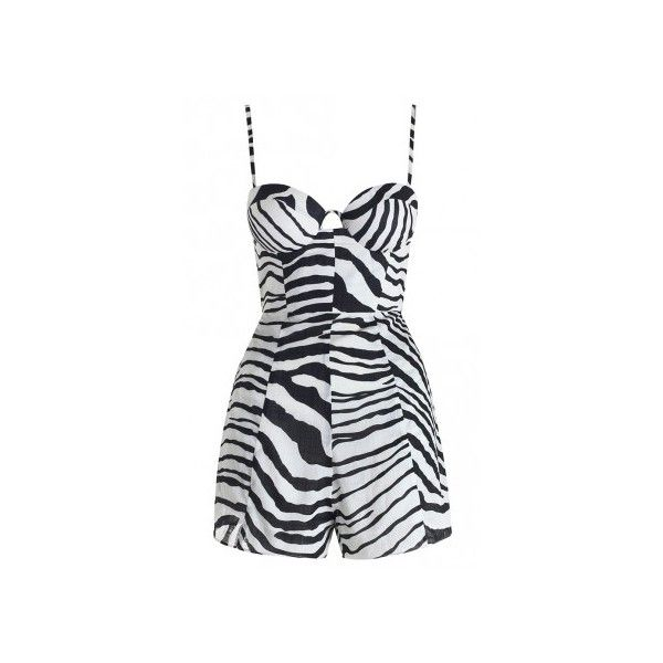 Zimmermann Hyper Zebra Bustier Romper ($135) ❤ liked on Polyvore featuring jumpsuits, rompers, playsuits, dresses, romper, shorts, loose fit jumpsuit, zebra romper, animal print jumpsuit and playsuit jumpsuit
