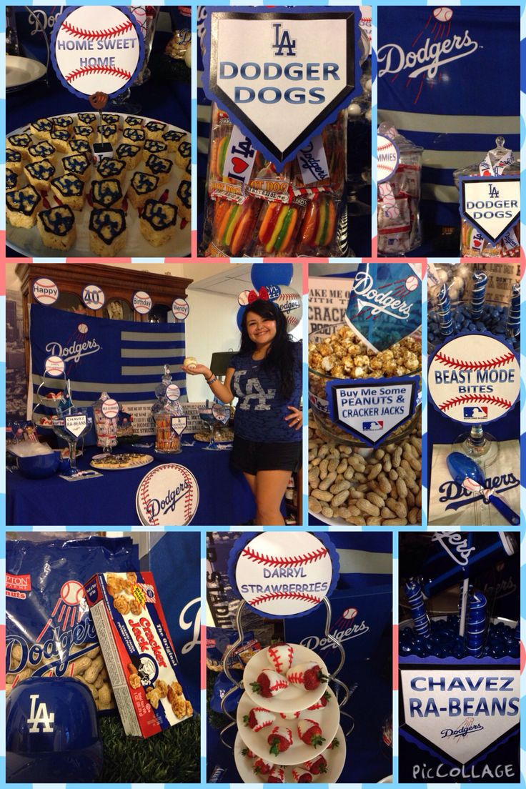 Dodgers 40th Birthday Party Candy Table  Facebook.com/blessedeventsplanning