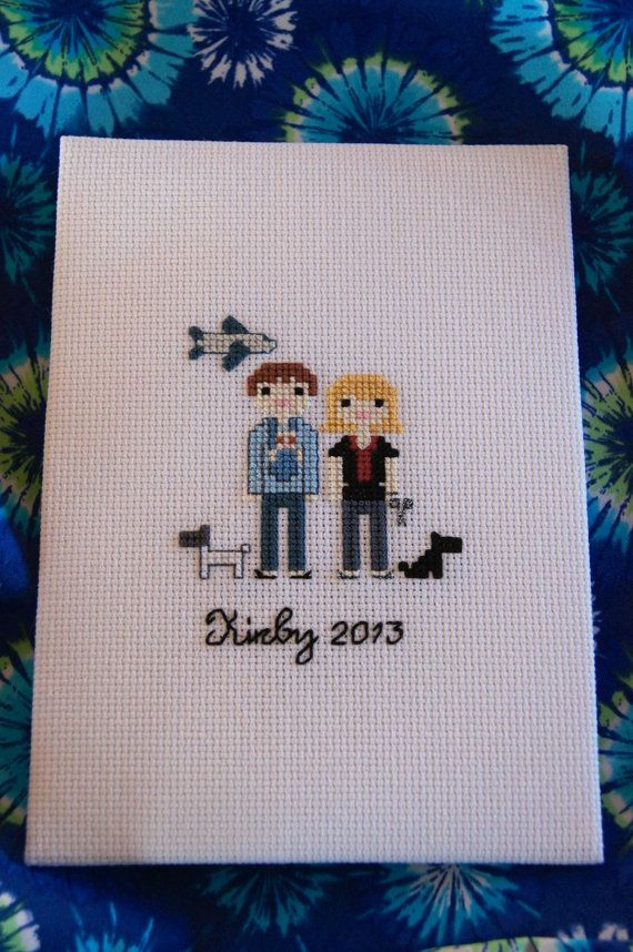 Personalized family cross stitch custom made by SeaOfDreamsCrafts, $25.00