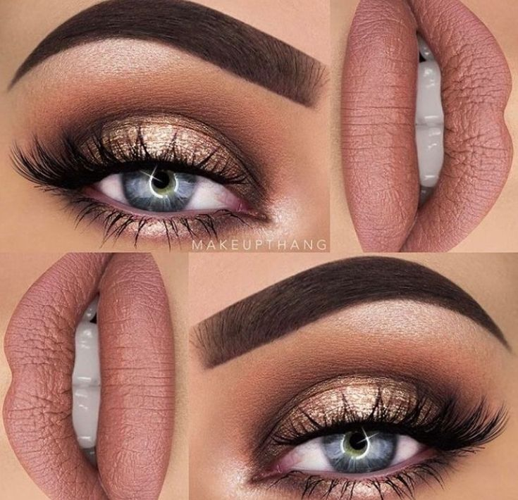 Neutral gold halo eye with nude lip