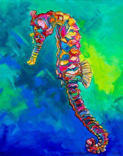 """""""Seahorse Blues"""" Cuttingboard by Artist Jen Callahan, Functional ARTWORK on cutting board """"Seahorse Blues"""" is name of original artwork on this cuttingboard artwork design Jen Callahan Artwork Coastal ColorsTM,http://www.amazon.com/dp/B00IA0N1FS/ref=cm_sw_r_pi_dp_5C58sb1TKGAQK16B"""