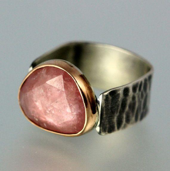 Sapphire Ring Rose Cut Pink Sapphire 18 Karat Rose by lsueszabo