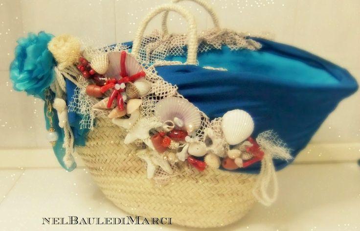 Nel baule di Marci creazione borsa in paglia,corallo,summer,mare,bag,coffa