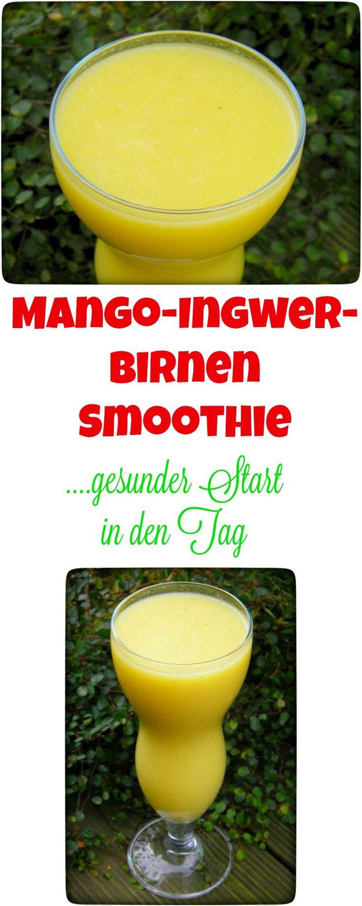 Heute morgen habe ich mir schnell einen Mango-Ingwer-Birnen Smoothie Smoothie gemixt. Ich freue mich, dass ich zur Zeit unsere leckeren regionalen Birnen mit meinen geliebten Mangos mixen kann. On top noch ein Stück scharfen Ingwer und schon hat man einen leckeren Guten Morgen Smoothie.