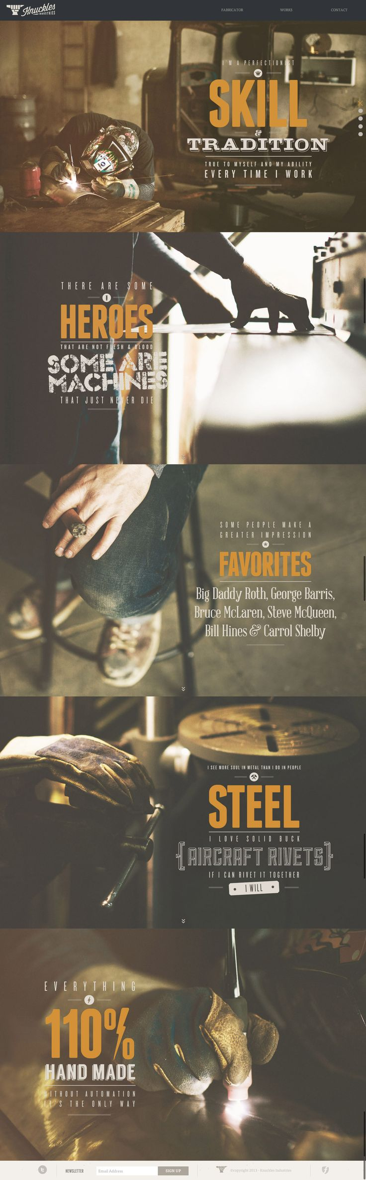 Knuckles Industries | Best Web #Design #Inspiration - Luv the font, color, treatments, use of typography elements.  ~cam