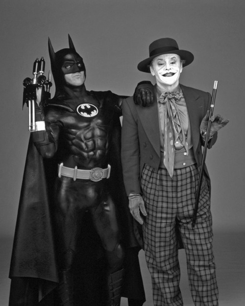 Michael Keaton and Jack Nickelson as Batman and The Joker.