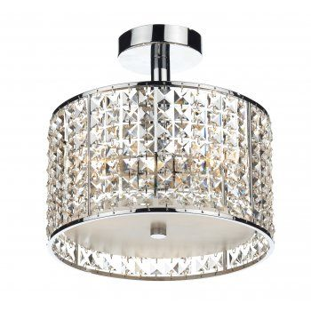 Decorative semi flush bathroom ceiling light in polished chrome with faceted glass decoration glass diffuser