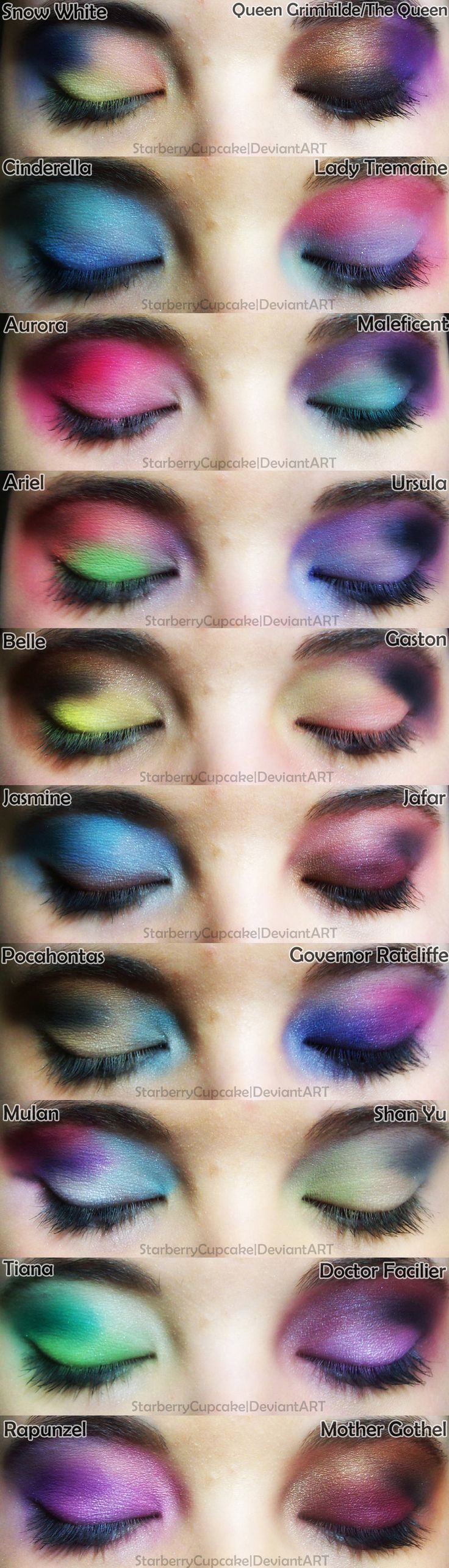 Eye makeup inspired by Disney Princesses & Villains by the super talented StarberryCupcake. On Deviant Art. Love every one of these!