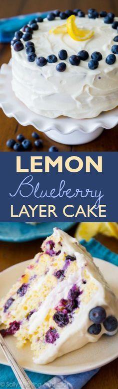 One of the most popular recipes on my blog-- get the recipe for lemon blueberry cake on sallysbakingaddiction.com!