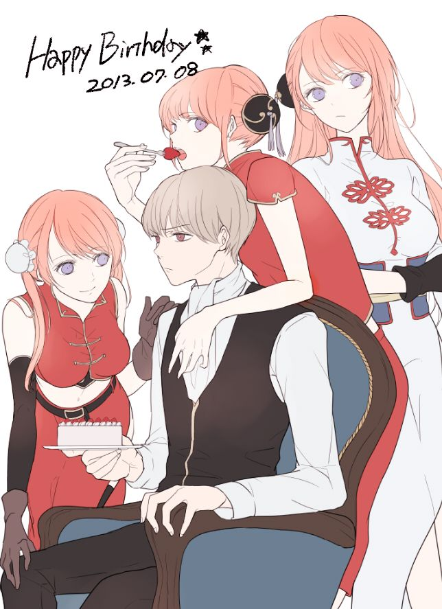 Tags: Anime, Gin Tama, Strawberry, Cake, Okita Sougo, Hair Buns, Kagura (Gin Tama)