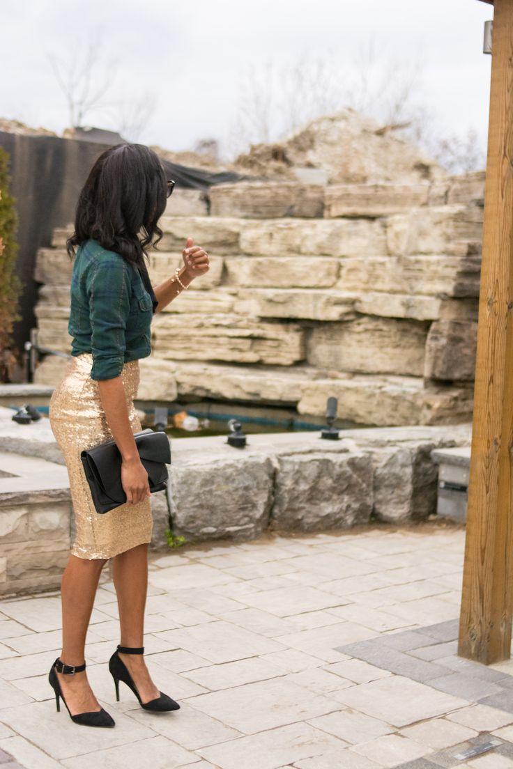 sequin skirt/ sequin pencil skirt/how to wear a sequin skirt/ plaid with sequin skirt