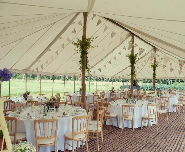 Clearspan marquee decorated and ready for the guests to arrive