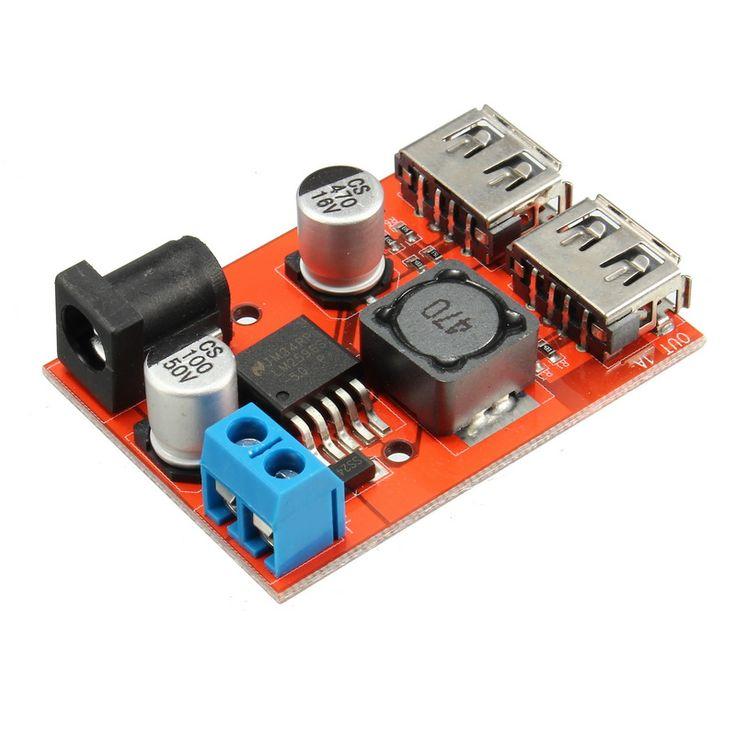5Pcs DC-DC 9V/12V/24V/36V To 5V Dual USB Buck Module Vehicle Charging Solar 3A Voltage Regulator Board
