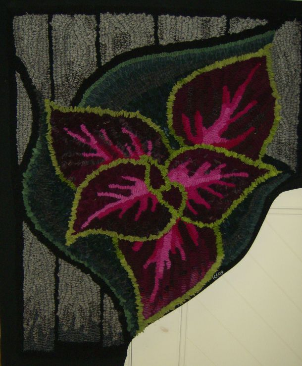 Coleus Leaf ~ hooked rug pattern; -- the colors used in the veins & bright lime green along the edges are just perfect!