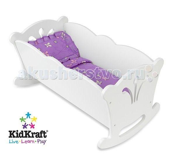 """Кроватка для куклы KidKraft качалка с бельем  KidKraft Мебель для кукол Кровать-качалка с бельем.  Кровать-качалка KidKraft для кукол-пусов высотой 48 см. Белоснежная кроватка понравится """"маленькой маме"""" и ее игрушечной дочке. Фигурное обрамление и декоративная отделка.Кроватка продается вместе с комплектом постельных принадлежностей приятного лавандового цвета. В набор входит одеяло и подушка.Надежная и долговечная игрушка упакована в коробку с подробной инструкцией для сборки…"""