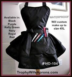 Waterproof apron # HD-104 - Black waterproof and salon products proof retro apron.