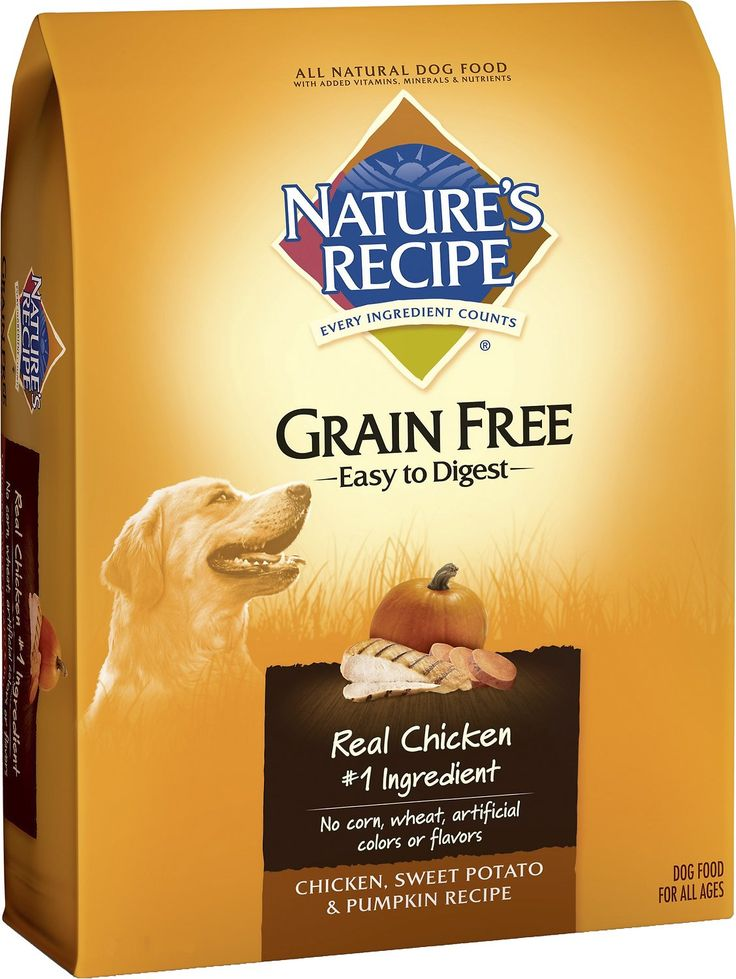 Nature's Recipe Grain-Free Easy-to-Digest Chicken, Sweet Potato & Pumpkin Recipe is a tasty, high-energy blend for your dog made with chicken for protein. The magic doesn't come from the protein, though. It comes from using sweet potato and pumpkin, with some added vitamins, to craft a dog food with no grain. It is easy to digest, and helps keep your dog active and healthy.