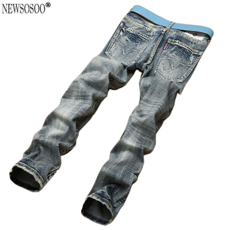 Newsosoo Brand classic ripped hole jeans for men slim fit straight robin jeans hommes pantalones vaqueros hombre MJ103 #Affiliate