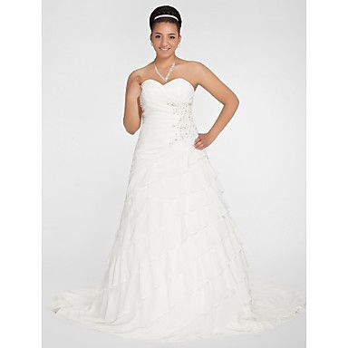 A-line Sweetheart Chapel Train Chiffon Plus Size Wedding Dres  – USD $ 299.99  MOM this might be my other one!!