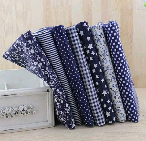7pc 50*50cm or 1pc 150cm*1yard U pick Navy Blue100% Cotton Quilting Fabric Fat Quarter Bundle Floral AssortCraft Tilda Fabric for Sewing