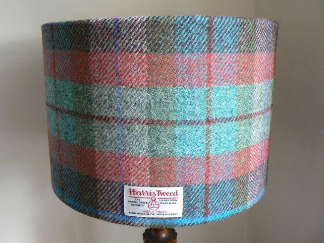 Harris Tweed Lampshade 30cm - Turquoise, purple red and green tartan £45.00