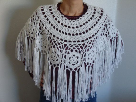 Crochet lacy Capelet  White Shoulder Wrap Knit  by FestiveCrafting, $45.00