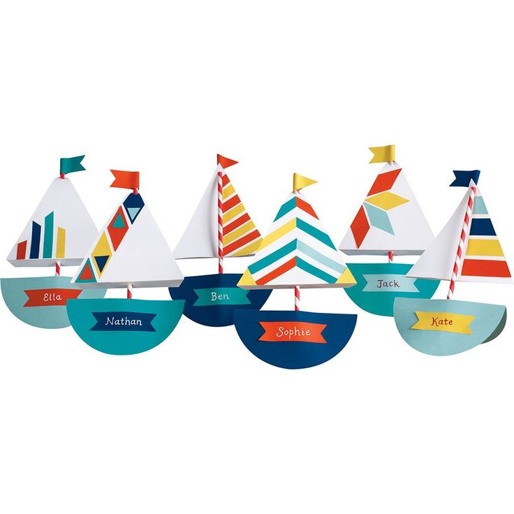 Nautical Sailboat Kit Ships Ahoy! Sail into your next summer gathering with these colorful boats in tow. Whether youre designating seats for party guests or using as table top décor, these place cards are a breeze to make! Kit makes 12 boats measuring approximately 10 x 5 1/2. Kit contents may vary.