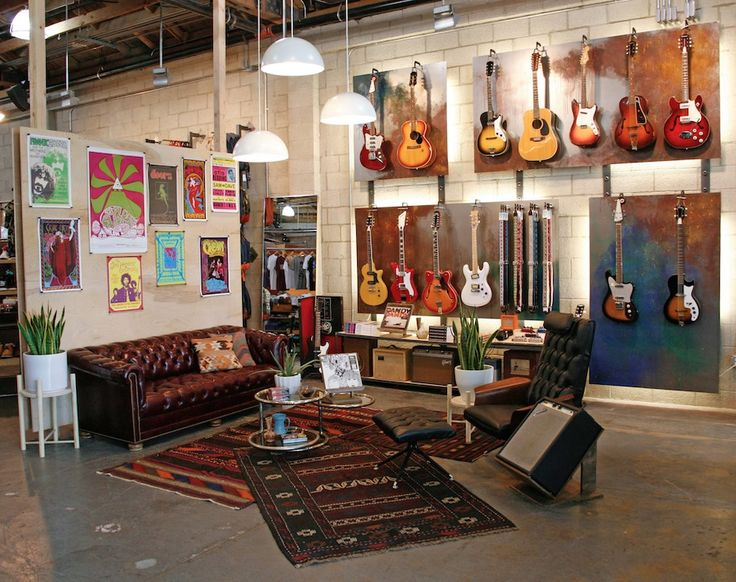 I want a photo like this except featuring people as it shows the environment of the guitar store