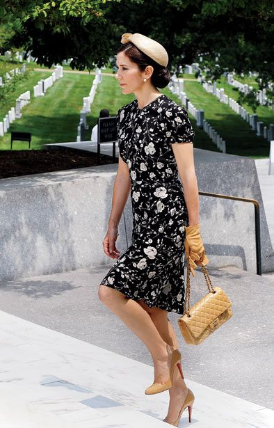 A great ensemble - the Chanel bag and leather gloves are the perfect details to tie the look. Princess Mary of Denmark