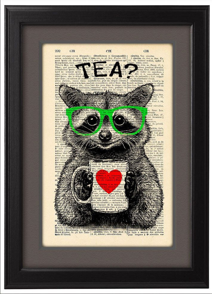 Illustration, Raccoon tea time, DICTIONARY Print, art poster, mug of tea, Book pages, Dorm decor, Gift poster, Wall decor, CODE/172 by Natalprint on Etsy https://www.etsy.com/listing/201430776/illustration-raccoon-tea-time-dictionary
