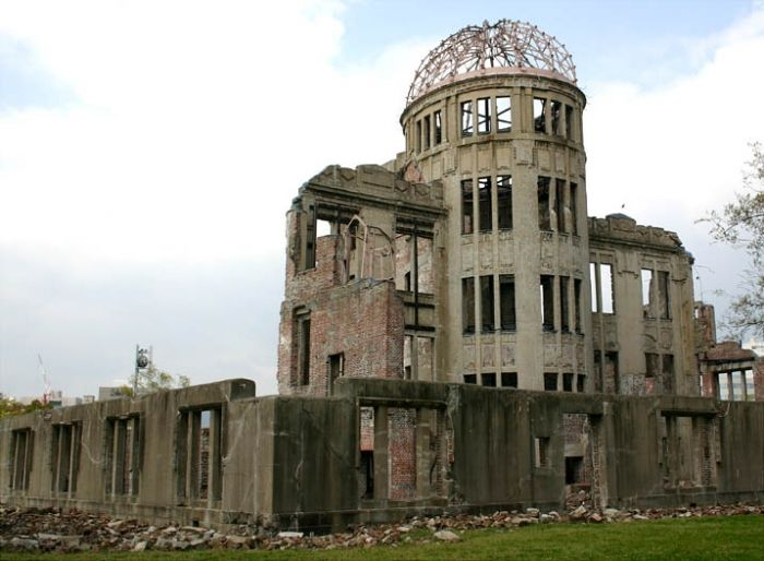 When America dropped its first atomic bomb on Hiroshima, the building was only 160 meters away from the center of the blast meaning that all inside died.