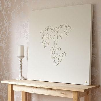 Wooden letters glued to canvas and then painted over in white