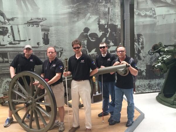 US Blind veterans checking out a cannon that was used by US forces during World War One in France #ProjectGemini #BlindVeteransUK