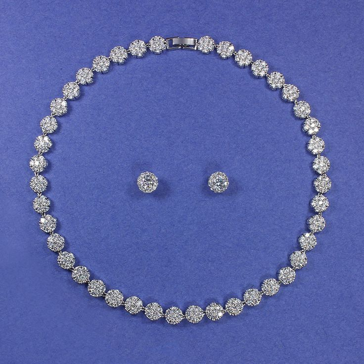 Choker necklace and stud earring  set with micro pave set cubic zirconias - Chanelle