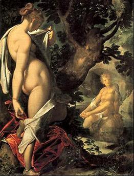 바르톨로메우스 슈프랑거(Bartholomeus Spranger)의 살마키스와 헤르마프로디토스(Salmacis and Hermaphroditus) / 1585 / 빈 미술사박물관(Wien Kunsthistorisches Museum) 소장