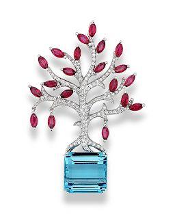 18k-yellow-gold-diamond-ruby-ring.html Platinum, diamonds, ruby, aquamarine - Brooch