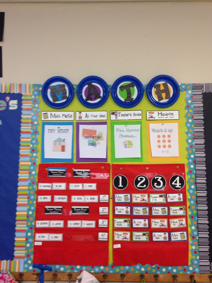 """This is my math center rotation board got the cute print outs from cfcclassroom.com  The red charts were from the dollar bins in target   I used plates to spell math   Printed my students names and then made a print out of the names of each station under the headings """"math facts"""" """"at your seat"""" teachers choice"""" """"hands on"""""""