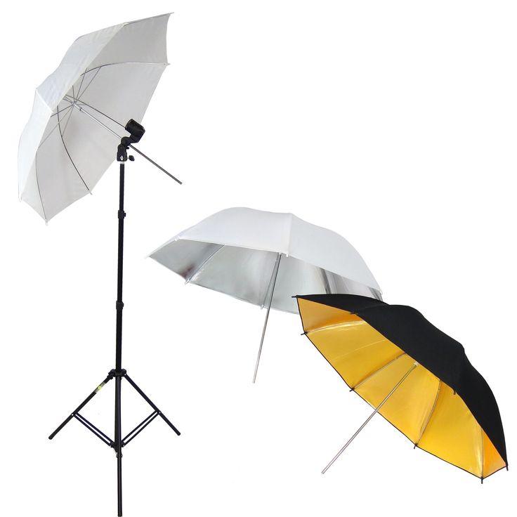 DynaSun W969S Kit Set da Studio Professionale, Supporto Cavalletto Stativo, Portalampada, Ombrello Diffusore Bianco, Ombrello Riflettente Argento e Ombrello Riflettore Oro/Nero per Illuminatore Luci Flash