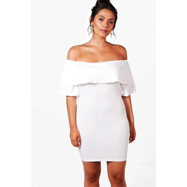 Boohoo Plus Bella Off The Shoulder Frill Bodycon Dress (23 AUD) ❤ liked on Polyvore featuring dresses, off the shoulder maxi dress, bodycon mini dress, white skater dress, white cami and white mini dress