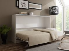 TS Möbel Quer Schrankbett Wandbett EASY 140 x 200 cm, Holzfarbe Weiß