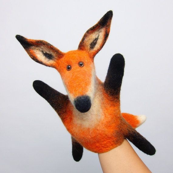 very experienced, old and fishy fox, number 3, wet felted hand puppet - amazing felting
