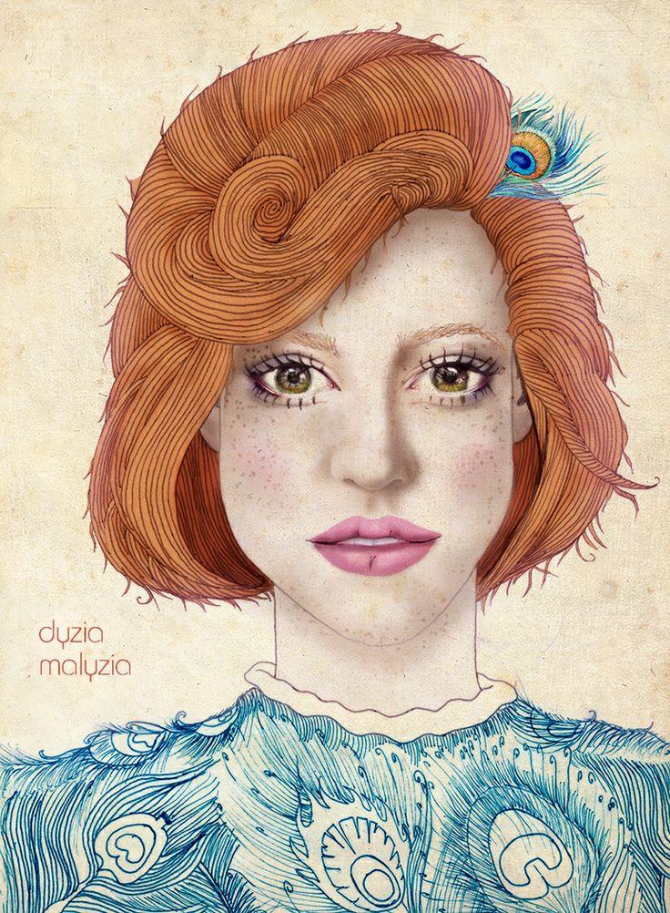 illustration, art, girl, redhead, peacock feathers, pink lips, photoshop, pencil, illustrator, blue, green eyes