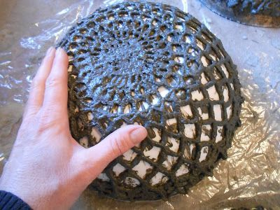 Sproutsandstuff: Create Cement Lace Using Doilies and other Crochet Items