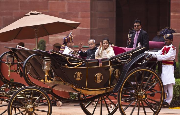 Photo: Shailendra Pandey    President Pranab Mukherjee with former President Pratibha Patil after the presidential oath ceremony inNew Delhi.   #president #pranab mukherjee #pratibha patil #oath #ceremony