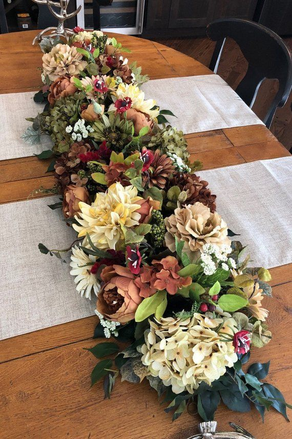 Coffee And Cream Garland Spring Summer Garland Lush Floral Garland Silk Floral Garland Floral Runner Silk Floral Decor Hydrangeas Floral Garland Floral Garland
