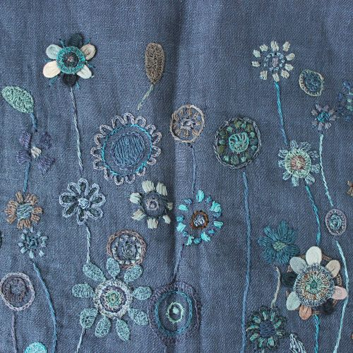Sophie Digard Linen Flower Stole / Navy - taste&touch