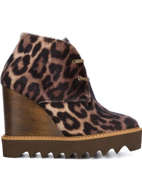 Shop Stella McCartney wedge leopard boots in Shuga Two from the world's best independent boutiques at farfetch.com. Shop 400 boutiques at one address.
